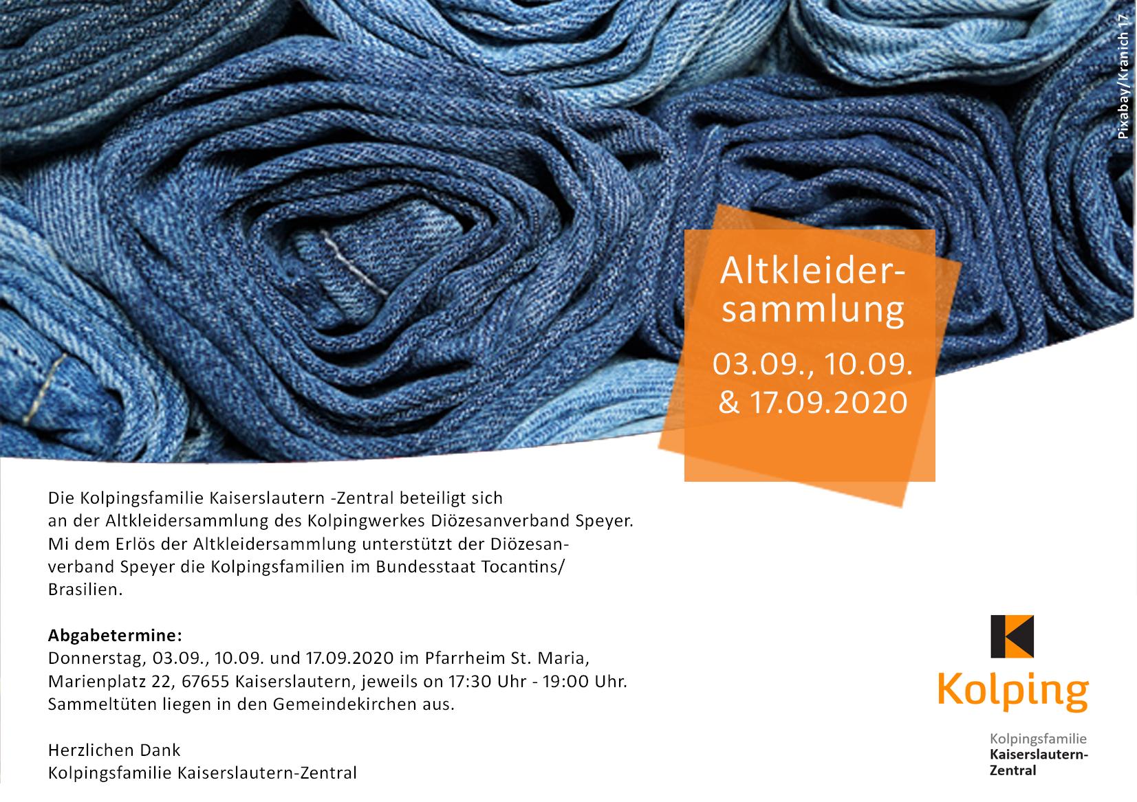 Altkleidersammlung - Kolpingsfamilie Kaiserslautern-Zentral