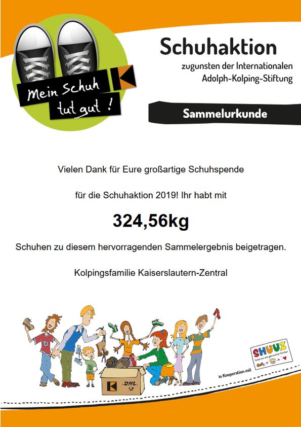 """Urkunde """"Mein Schuh tut gut""""! - Kolpingsfamilie Kaiserslautern Zentral"""